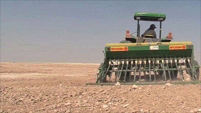 A machine ploughing the barren land