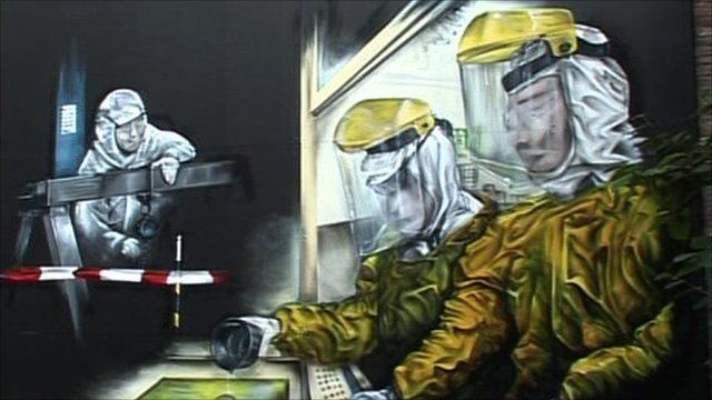 Painting of people making microchips