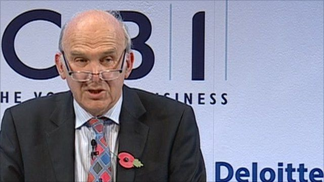 Vince Cable addresses the CBI conference