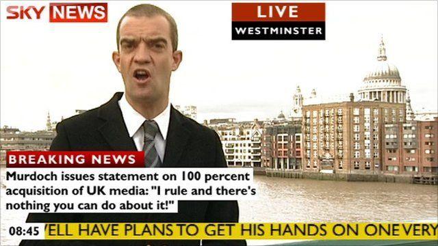 Giles Dilnot with news graphics