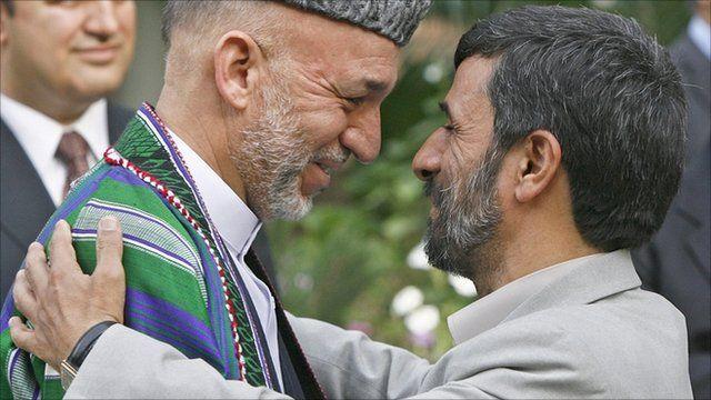 Afghan President Hamid Karzai with Iran's President Mahmoud Ahmadinejad