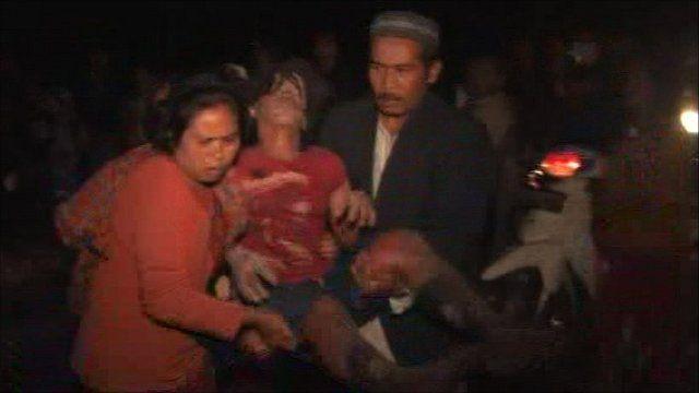 Evacuees from Mount Merapi volcano