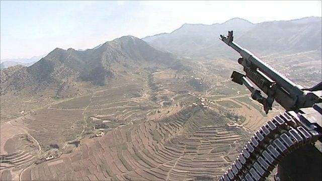 Aerial view of Orakzai from an armed helicopter