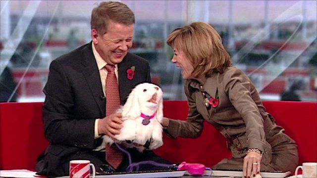 Bill and Sian with a toy dog