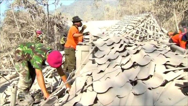 Looking for survivors in Indonesian volcano eruption