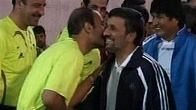 Mahmoud Ahmadinejad and Evo Morales