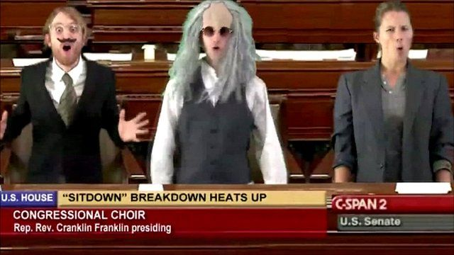 Scene from a Gregory Brothers video for Auto-Tune the news showing a scene from Congress