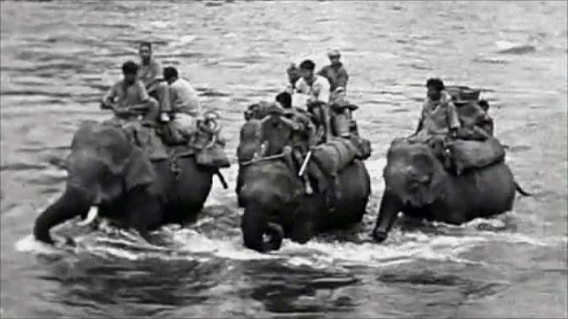 Gyles Mackrell's own footage shows how elephants were used to rescue  hundreds of refugees, stranded by flood waters in Burma in World War II