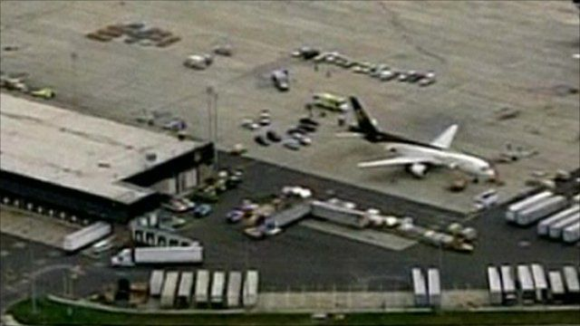Aerial view of UPS plane