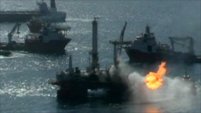 Deepwater Horizon oil rig on fire in April 2010