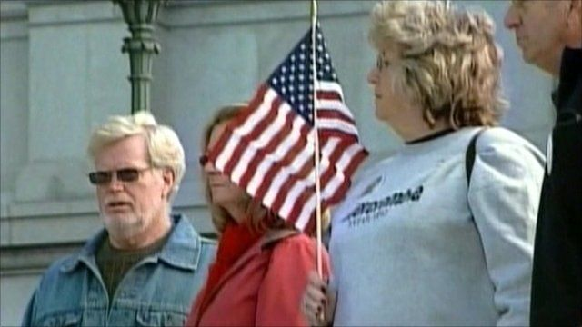 American holds flag
