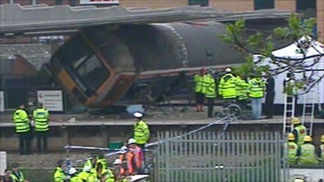 Emergency services around the derailed train