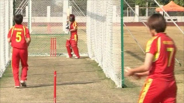 Chinese cricket team in training