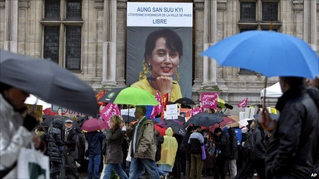 Portrait of Aung San Suu Kyi in Paris marking her release from house arrest