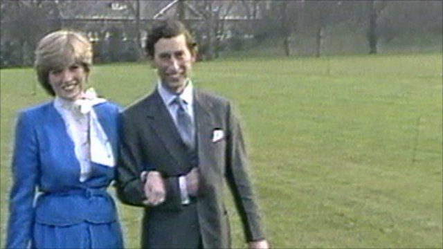 Prince Charles and Diana on their engagement (1981)