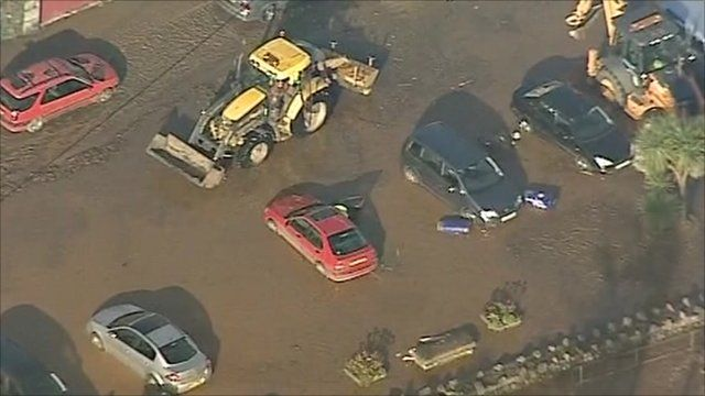 Cars damaged by flooding