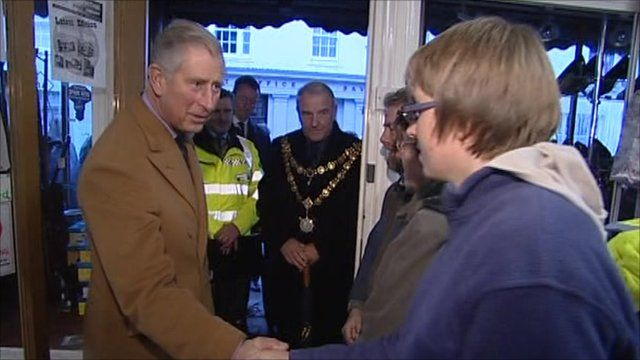 Prince Charles meets people affected by the floods in Cornwall