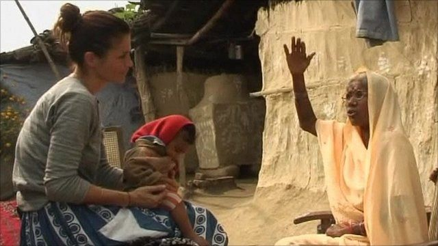 Helena Christensen with Nepali woman