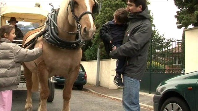 Horse and cart in Saint-Prix outside Paris