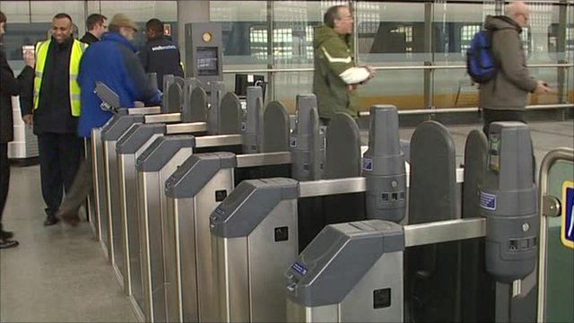 Ticket barriers at a train station