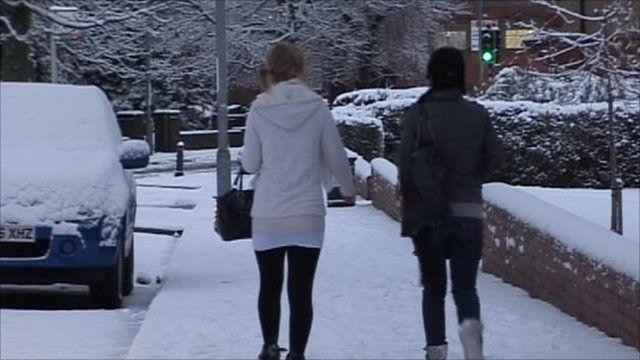Snow scene in Newcastle