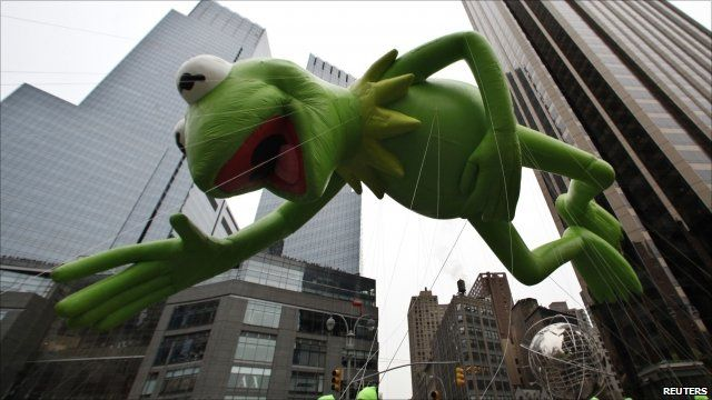 Giant Kermit the Frog inflatable floats through New York