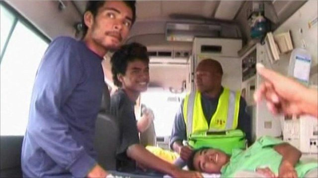 Survivors in ambulance