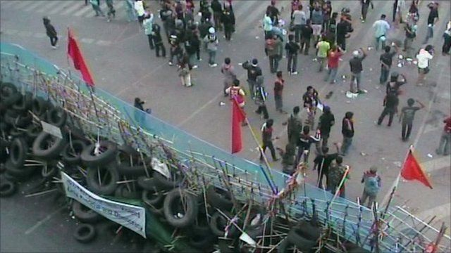 Barricade in Bangkok during protests