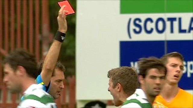 Red card at Scottish football match