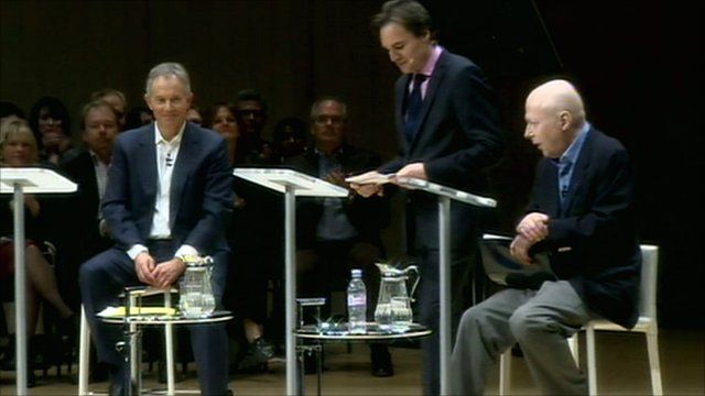 Former UK Prime Minister Tony Blair and Atheist columnist Christopher Hitchens