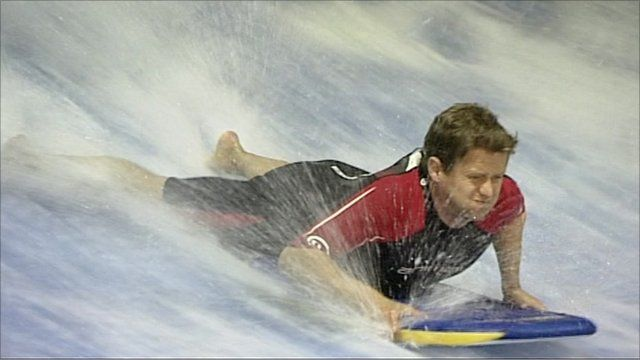 Mike Bushell surfing indoors