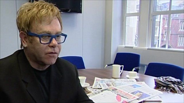 Sir Elton in the offices of the Independent