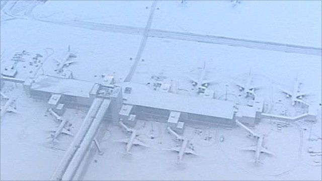 Grounded planes in snow