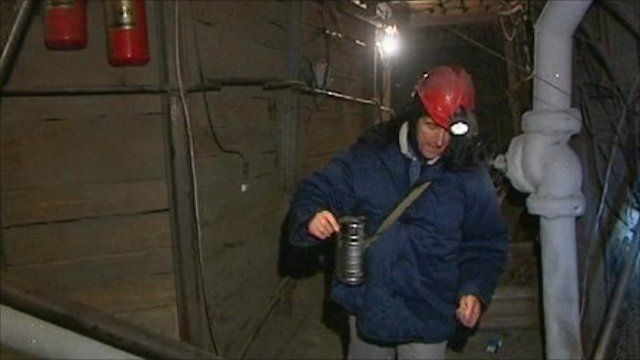 Adam Mynott inside Siberian mine