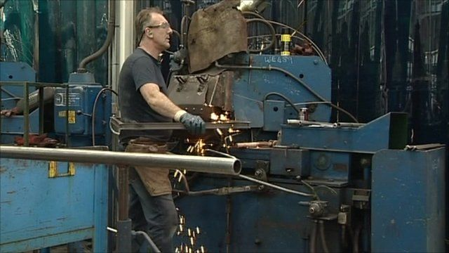 Man works in factory