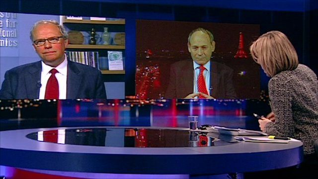 Anders Aslund and Sir Tony Brenton with Emily Maitlis