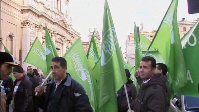 Italian soldiers protesting in the streets