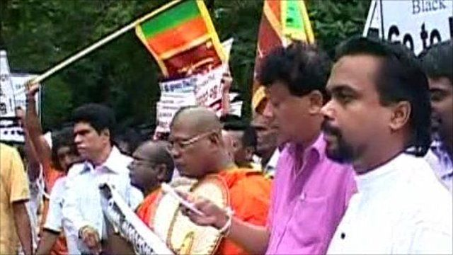 Protesters in Sri Lanka