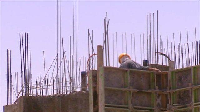 Construction worker in Israeli settlement