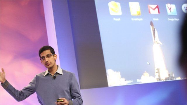 Google's head of product for Chrome, Sundar Pichai, demonstrates the new operating system