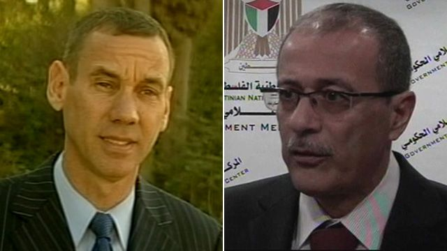 Israeli government spokesman Mark Regev and Palestinian official Ghassan Khatib