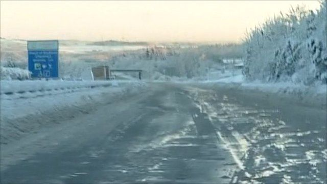 Many of Scotland's roads are covered in ice