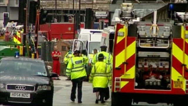 Emergency crews and vehicles