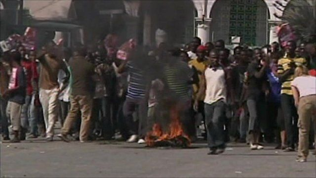 Haitians protesting in Port-au-Prince