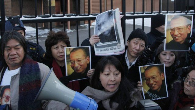 Supporters of Liu Xiaobo protesting in Oslo