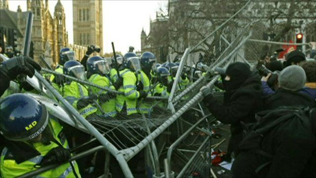 Violence at protest in London