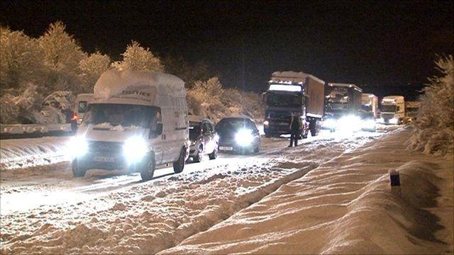 Snowbound road in Scotland
