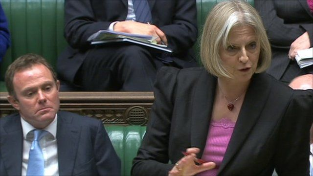 Home Secretary Theresa May addressing members of parliament