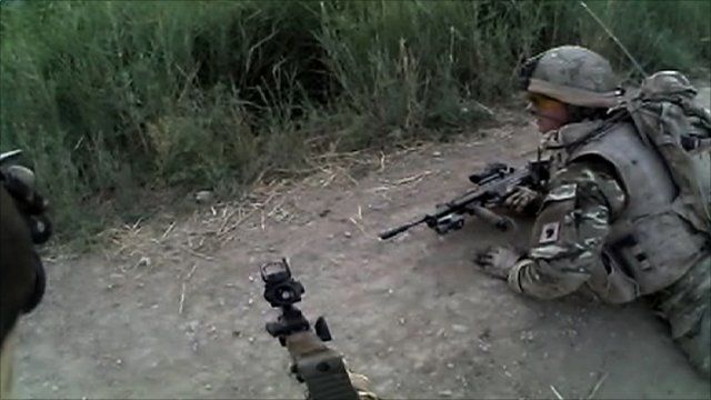 The view from a soldier's headcam