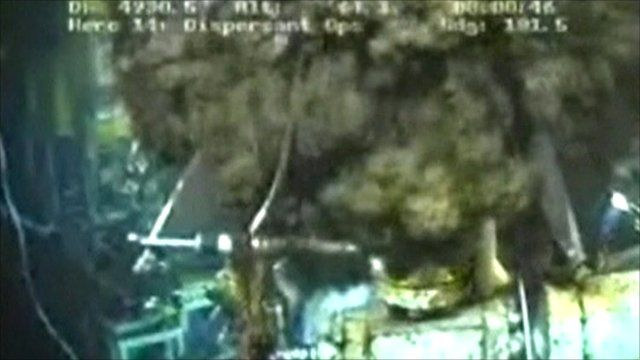 Underwater film footage of oil leak